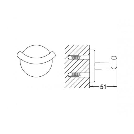 Flova Levo Gold Round Covered Toilet Double Robe Hook