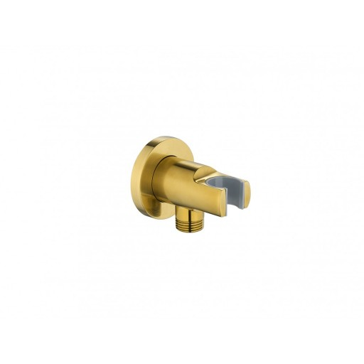 Flova Levo Gold Round Wall Outlet Elbow With Handset Holder