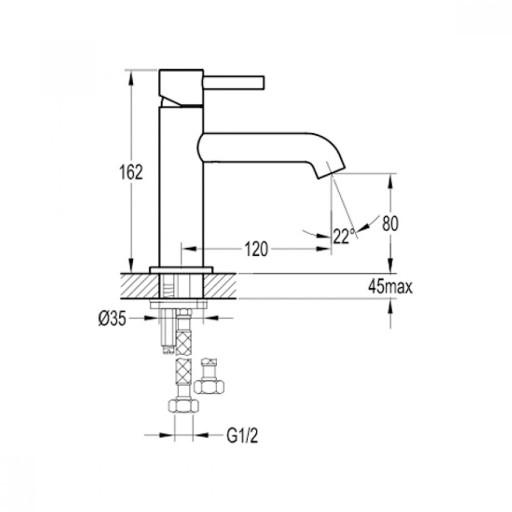 Flova Levo Gold Round Mono Basin Mixer Tap - 162MM