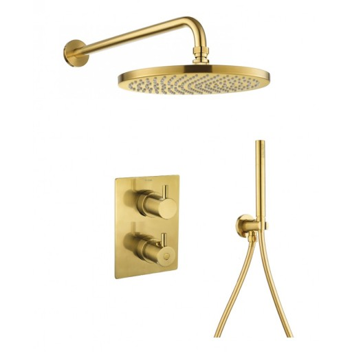 Flova Levo Gold Square Concealed Thermostatic 2 Outlet Shower Set