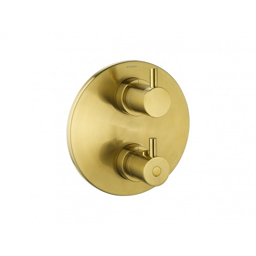 Flova Levo Gold Round 2 Outlet Concealed Thermostatic Shower Valve
