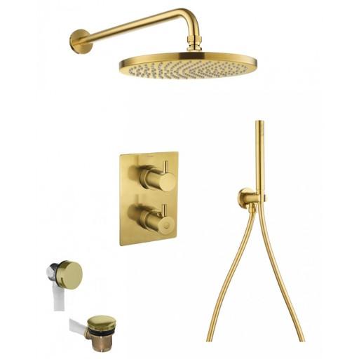 Flova Levo Gold Square 3 Outlet Concealed Thermostatic Shower Set