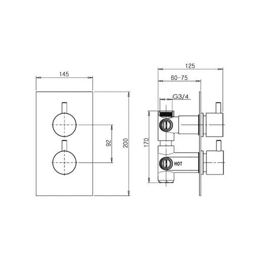Flova Levo Gold Square 3 Outlet Concealed Thermostatic Shower Valve