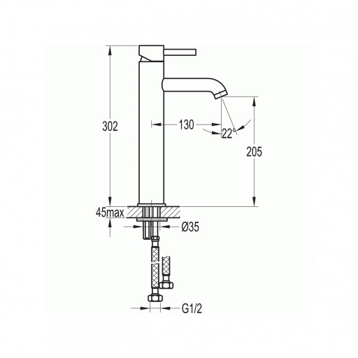 Flova Levo Gold Round Tall Mono Basin Mixer Tap - 308MM