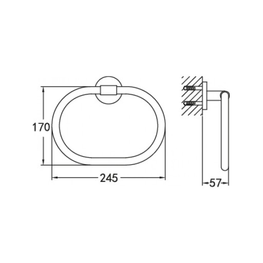 Flova Levo Nickel Oval Towel Ring