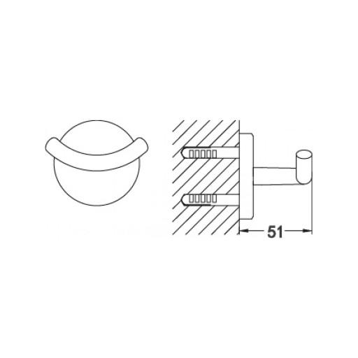 Flova Levo Nickel Round Covered Toilet Double Robe Hook