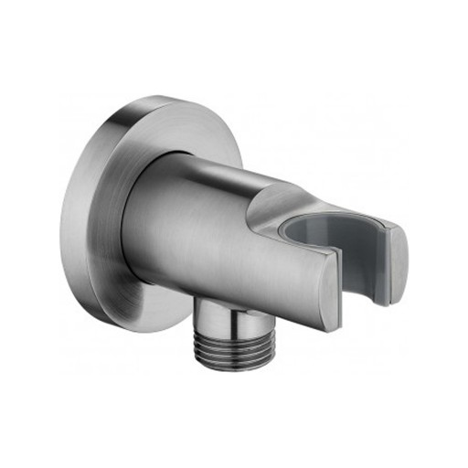 Flova Levo Nickel Round Wall Outlet Elbow With Handset Holder