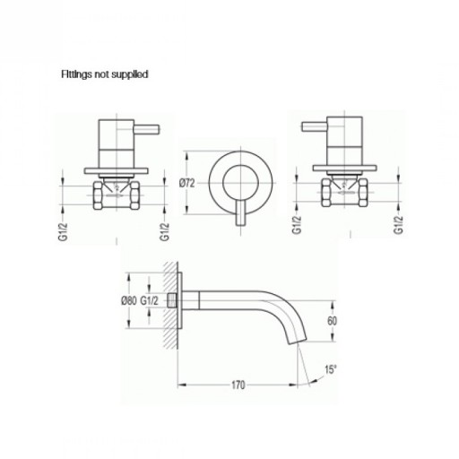 Flova Levo Nickel 3 Tap Hole Wall Mounted Concealed Basin Mixer Tap