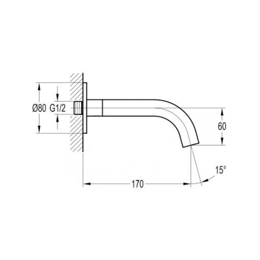 Flova Levo Nickel Wall Mounted Bath Spout - 170MM