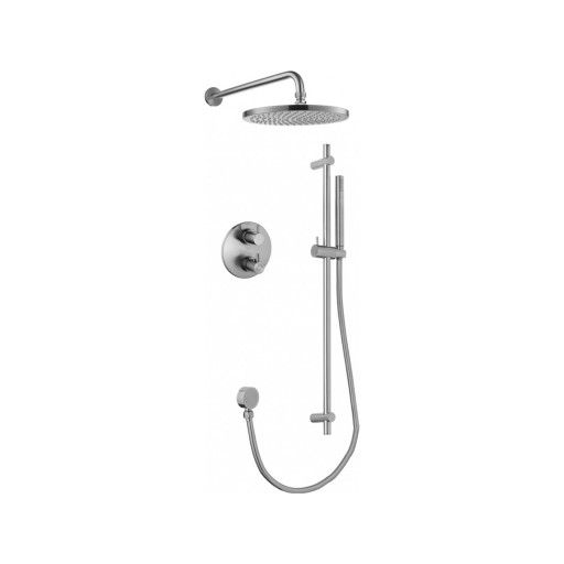 Flova Levo Nickel Round 2 Outlet Concealed Thermostatic Shower Set - Slide Rail Kit