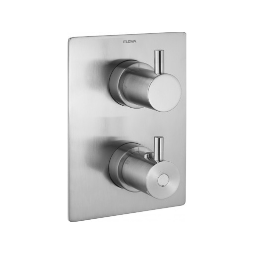 Flova Levo Nickel Square 2 Outlet Concealed Thermostatic Shower Valve