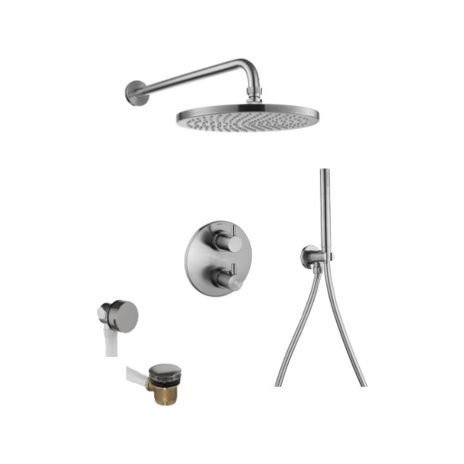 Flova Levo Nickel Round 3 Outlet Concealed Thermostatic Shower Set