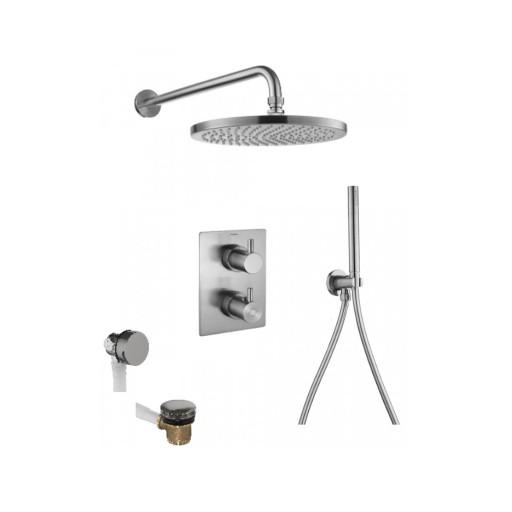 Flova Levo Nickel Square 3 Outlet Concealed Thermostatic Shower Set