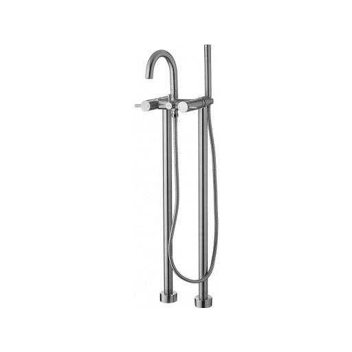 Flova Levo Nickel Freestanding Bath Shower Mixer + Handset Kit