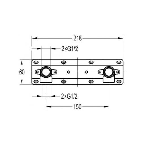 Flova Levo Chrome Mounting Fixing Kit For Exposed Showering