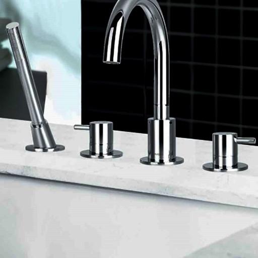 Flova Levo Chrome Deck Mounted 4 Tap Hole Bath Shower Mixer + Pull Out Handset