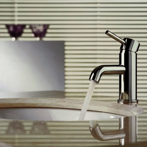 Flova Levo Chrome Round 148MM Mono Basin Mixer Tap + Clicker Waste