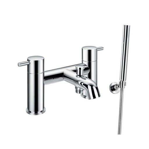 Flova Levo Chrome Deck Mounted Bath Shower Mixer + Handset Kit