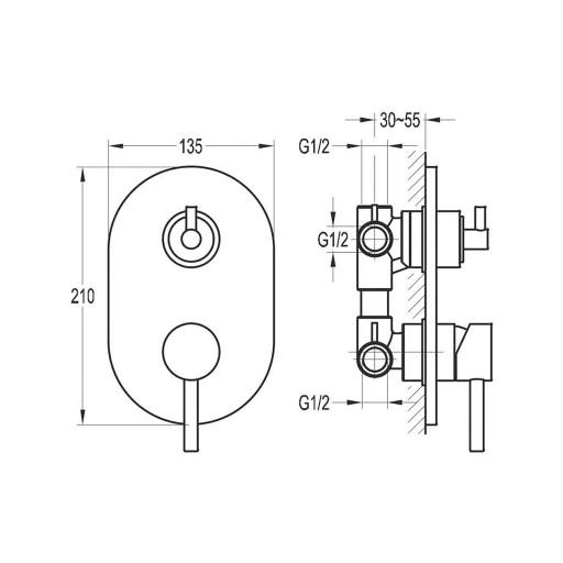 Flova Levo Chrome Concealed Manual Shower Valve + 3-Way Diverter