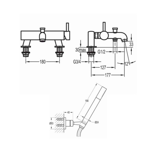 Flova Levo Chrome Wall Mounted Single Lever Bath Shower Mixer + Handset Kit