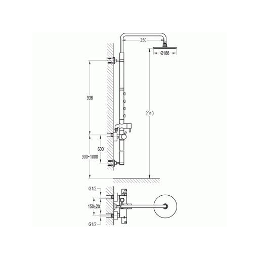 Flova Levo Chrome Exposed Thermostatic Shower Column Set