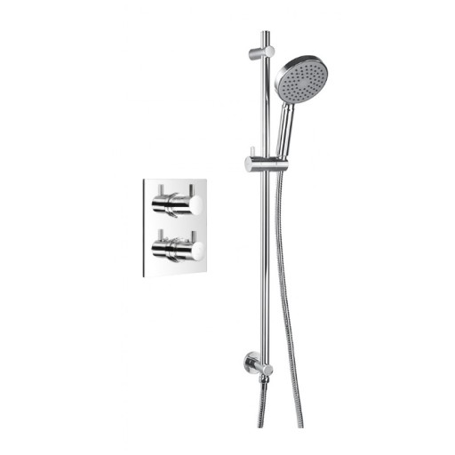Flova Levo Chrome Square Concealed Thermostatic 1 Outlet Shower Valve + Slide Rail Kit