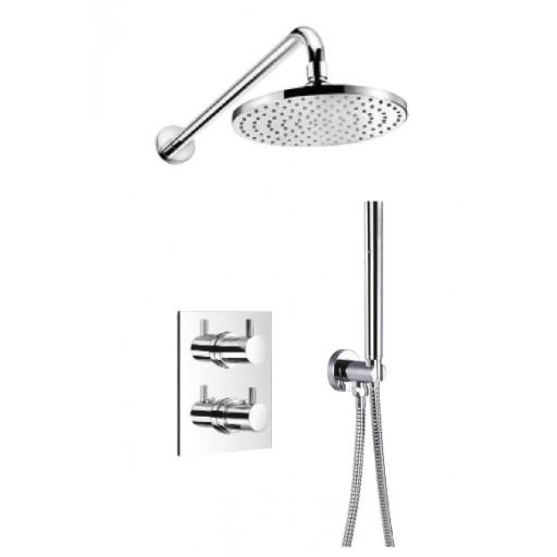 Flova Levo Chrome Square Concealed Thermostatic 2 Outlet Shower Set