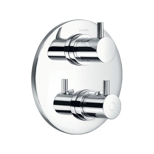 Flova Levo Chrome Round Concealed Thermostatic 2 Outlet Shower Valve