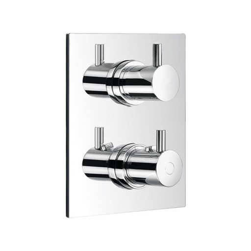 Flova Levo Chrome Square Concealed Thermostatic Double Outlet Shower Valve