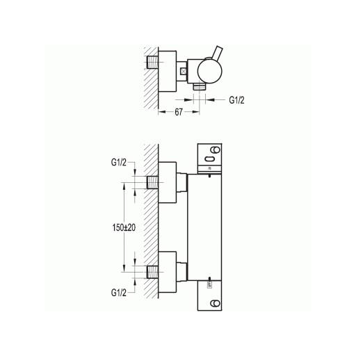 Flova Levo Chrome Exposed Thermostatic 1 Outlet Shower Bar Valve