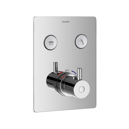 Flova Levo Chrome Square GoClick Concealed Thermostatic 2 Outlet Shower Set