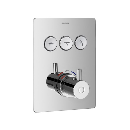Flova Levo Chrome Square GoClick Concealed Thermostatic 3 Outlet Shower Set