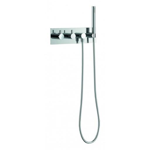 Flova Levo Chrome Concealed Thermostatic Horizontal 3 Outlet Shower Valve + Handset & Hose