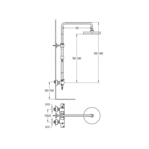 Flova Levo Chrome Exposed Thermostatic Shower Column Set + Rainshower & Handset