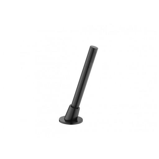 Flova Levo Matt Black Deck Mounted Pull Out Shower Kit - Microphone Handset & Hose