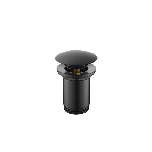 Flova Levo Matt Black Round Clicker Basin Waste - Slotted & Unslotted