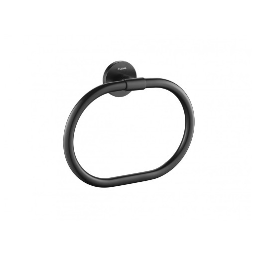 Flova Levo Matt Black Round Towel Ring