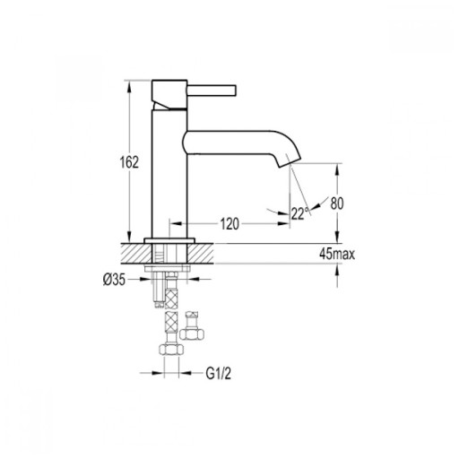 Flova Levo Matt Black Mono Basin Mixer Tap - 162MM