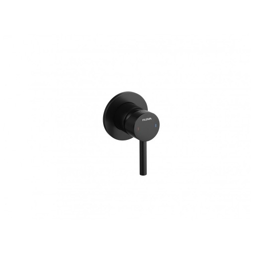 Flova Levo Matt Black Round Single Outlet Manual Valve - 80MM