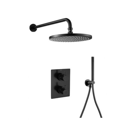 Flova Levo Matt Black Round Concealed Thermostatic 2 Outlet Shower Set
