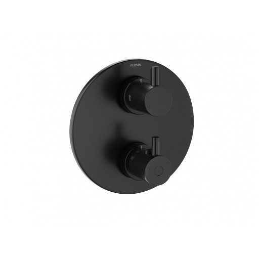 Flova Levo Matt Black Round Thermostatic 2 Outlet Shower Valve