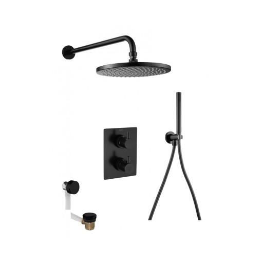 Flova Levo Matt Black Square Concealed Thermostatic 3 Outlet Shower Set