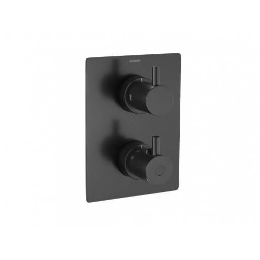 Flova Levo Matt Black Square Thermostatic 3 Outlet Shower Valve