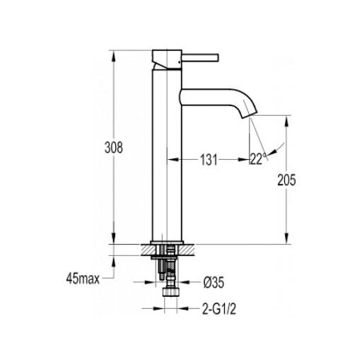 Flova Levo Matt Black Tall Mono Basin Mixer Tap - 308MM