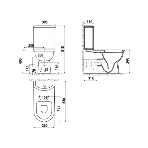 Creavit Selin Close Coupled Combined Bidet Toilet