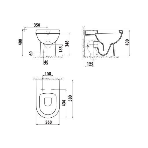 Creavit Vitroya Back to Wall Combined Bidet Toilet