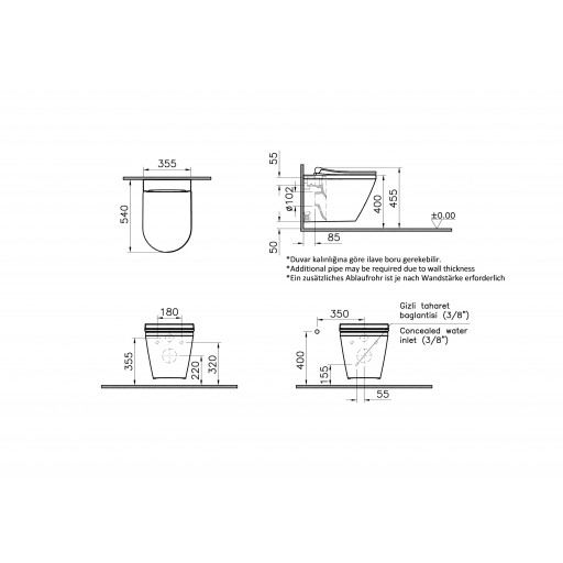 VitrA Integra Aquacare Wall Hung Combined Bidet Toilet