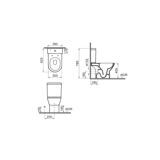 VitrA Integra Rimless Close Coupled Toilet - Open Back