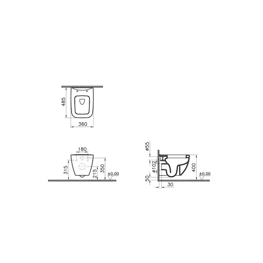 VitrA Shift Wall Hung Toilet - Short Projection