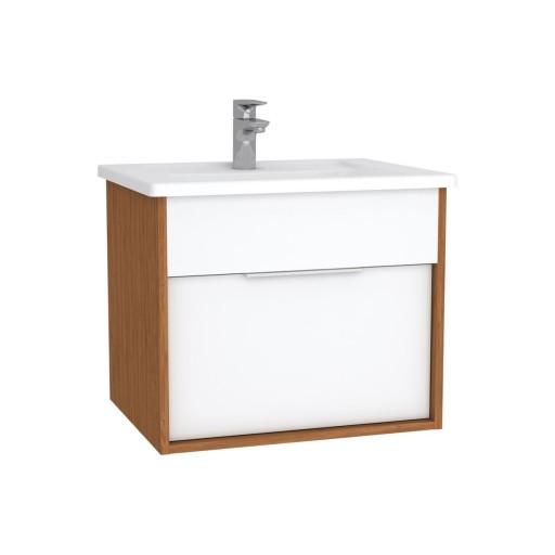 VitrA Integra Vanity Unit & Basin - 600MM - Gloss White & Bamboo